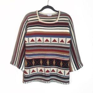 Vtg 60s Knit Tribal Western Bell Sleeve Sweater